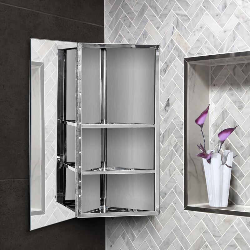Armoire Miroir Rangement Toilette Salle De Bain Meuble Mural D Angle 60 X 30 X 18 4 Cm Acier Inoxydable Gris 3662970005699