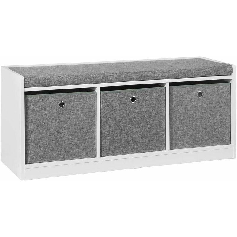 banc de rangement avec coussin rembourre meuble entree fsr65 dg sobuy