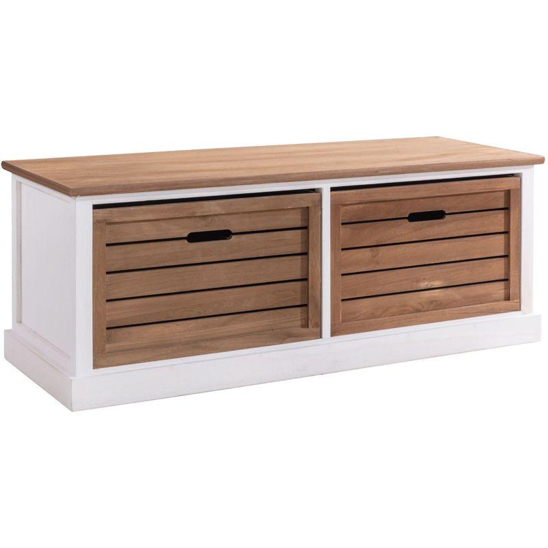 banc de rangement cornelia meuble bas coffre avec 2 caisses en bois de paulownia blanc et brun style maison de campagne