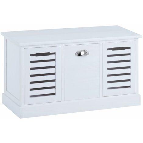 banc de rangement trient meuble bas coffre avec assise coussin rembourre et 3 caisses en mdf et bois de paulownia blanc