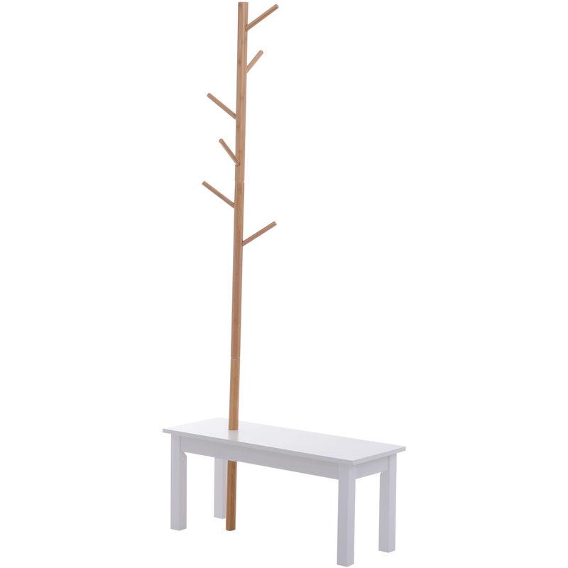 banc porte manteaux 2 en 1 design contemporain cosy dim 80l x 30l x 180h cm mdf blanc bois massif bambou