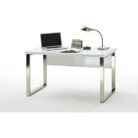 bureau coloris laque blanc brillant avec pietement metal chrome l140 x h76 x p70 cm pegane