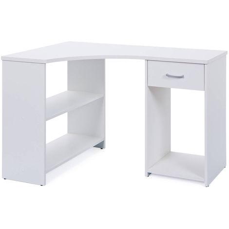 bureau d angle blanc avec 1 tiroir et 3 compartiments de rangement dim l 118 x p 79 x h 75 cm pegane