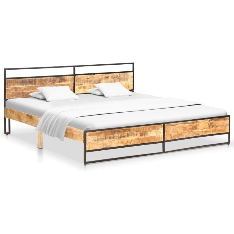 cadre de lit bois de manguier massif brut 180 x 200 cm