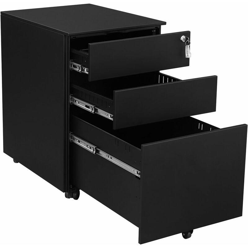 caisson de bureau a roulettes avec 3 tiroirs et classeur suspendu armoire de bureau verrouillable pour dossiers et documents corps d armoire