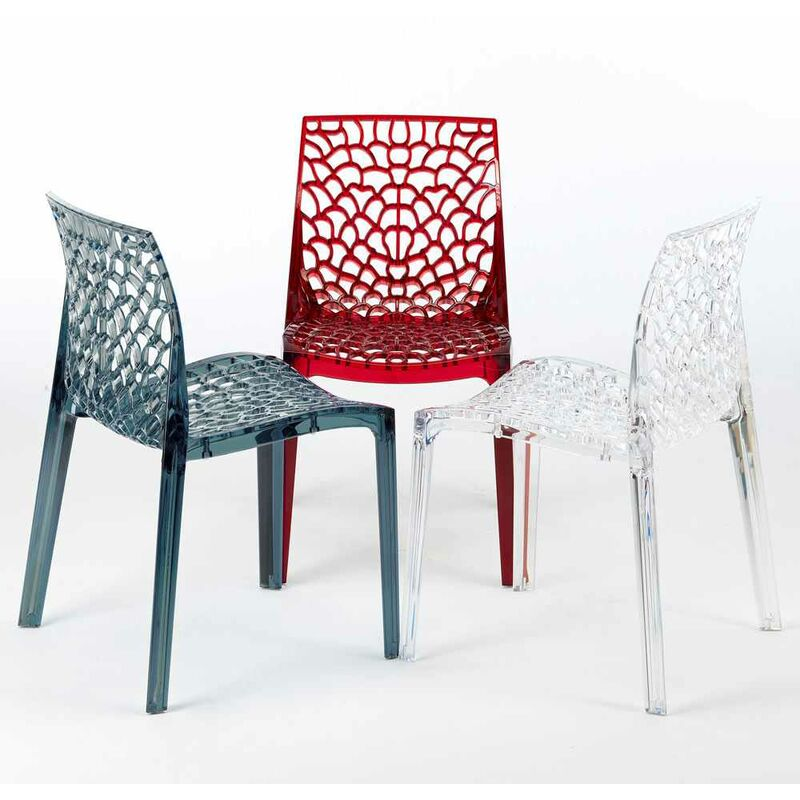 chaise transparente salle a manger cafe empilable nid d abeille grand soleil gruvyer transparent