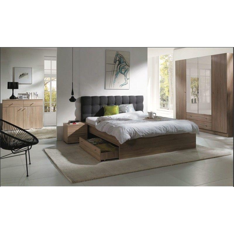 chambre a coucher complete maxim lit adulte 160x200 cm tiroir sommier chevets commode armoire garde robe marron