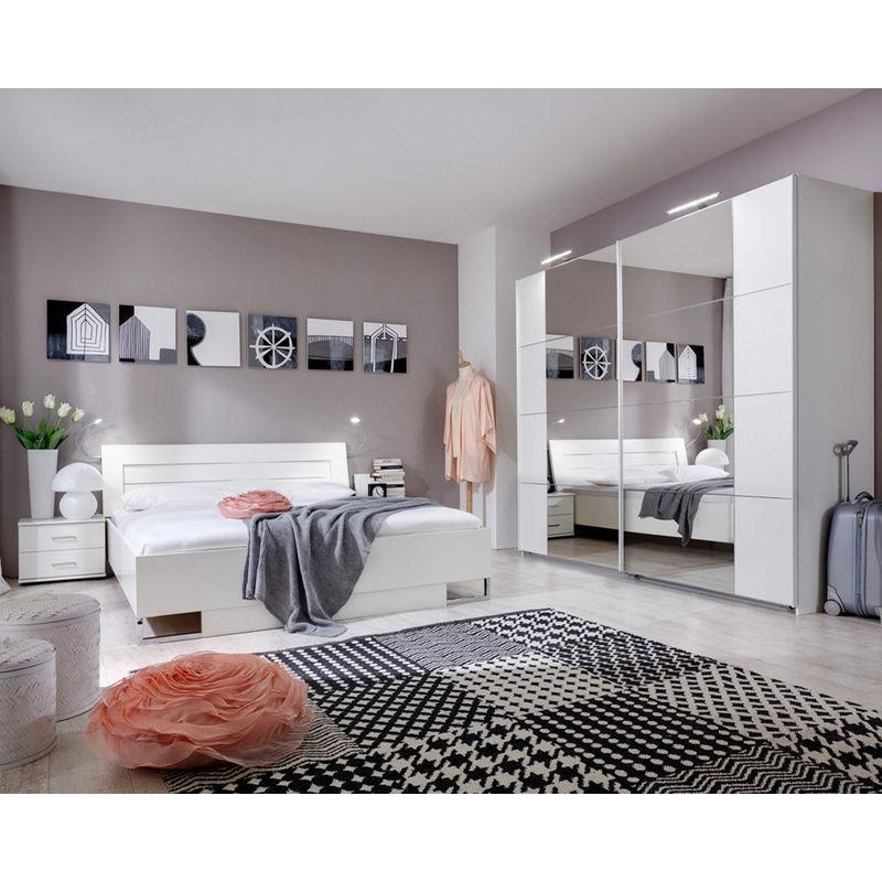 chambre adulte en panneaux de particules coloris blanc 180 x 200 cm pegane