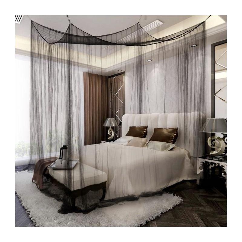ciel de lit moustiquaire baldaquin pour lit double protection des insectes 220 x 200 x 210 cm noir