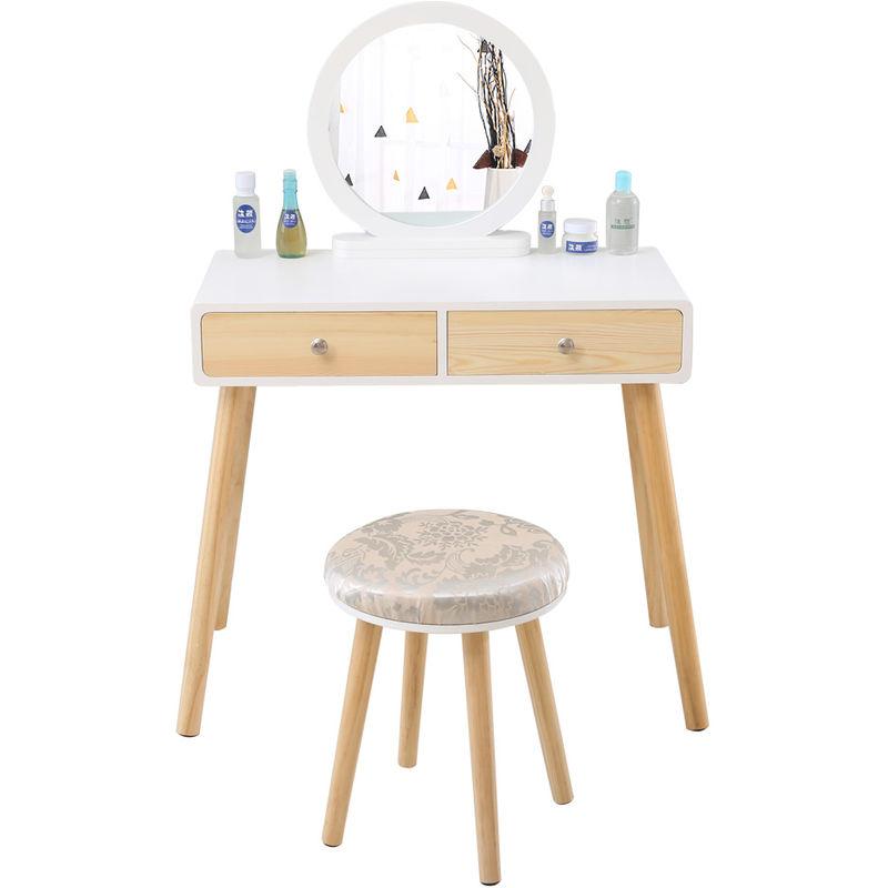 coiffeuse table de maquillage avec 1 miroir pivotant 2 tiroirs 1 tabouret