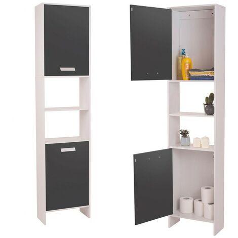 meuble colonne salle de bain design lea en bois blanc portes grises