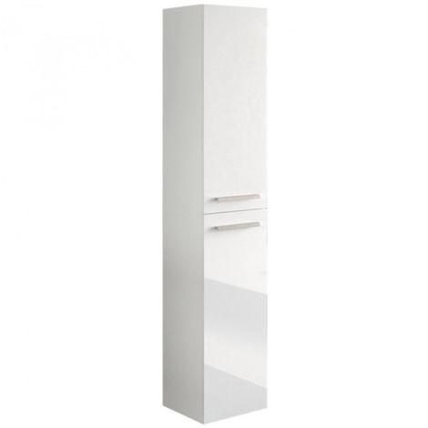 colonne salle de bain suspendue avec 2 portes coloris blanc laque 150 x 30 x 25 cm pegane