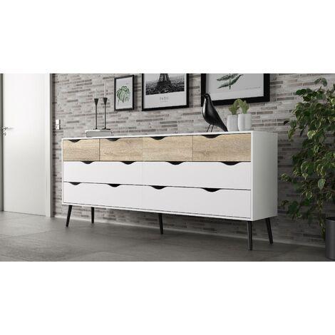 commode a tiroirs double blanc et beige 195 7 x 81 7 x 39 1 structure en bois blanc