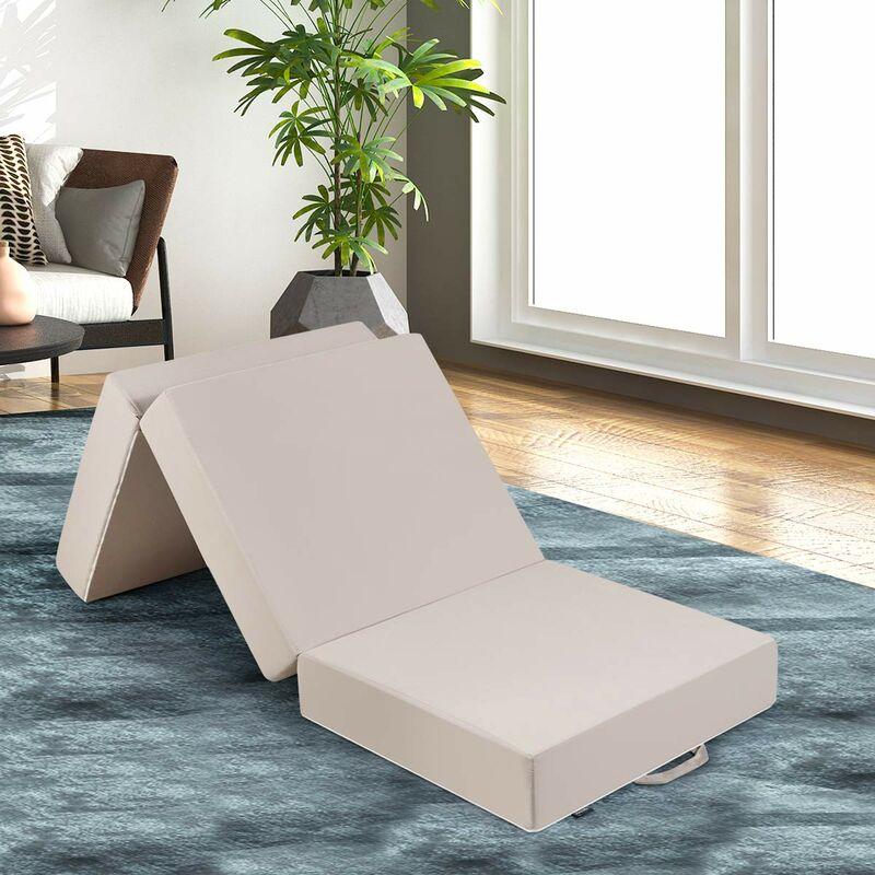 costway matelas pliant d appoint lit d invite futon pouf d epaisseur 15cm avec une housse amovible ultra douce confortable pliable en trois parties