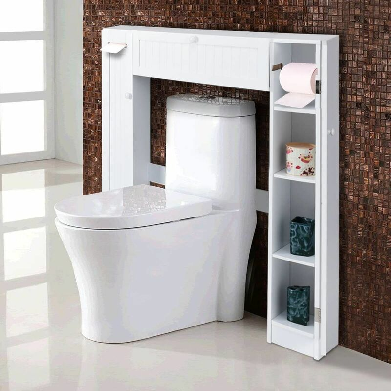 costway meuble wc armoire de toilette placard de salle de bains etagere de salle de bain