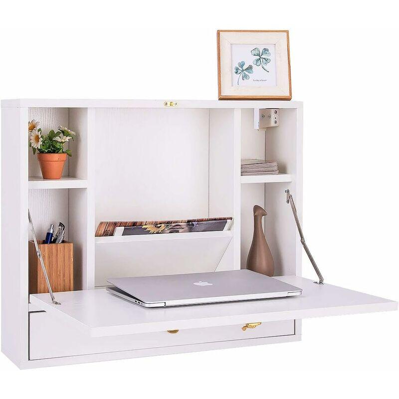 costway table murale rabattable en mdf avec etagere integree table murale pliable pour ordinateur blanc capacite de charge 20kg