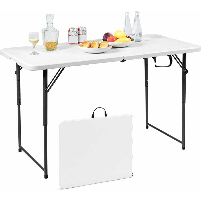 costway table pliante en plastique pour camping jardin cuisine materiaux hdpe 122 x 61 x 72 cm blanc