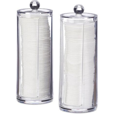 Distributeur Rond Coton Demaquillant Boite Range Coton Organiseur Couvercle Set 2 20x7 Cm Transparent 810026559901250