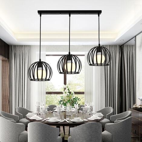 E27 Lustre Industriel Barre 3 Lampes Suspension Cage Contemporain Noir Pour Cuisine Salle Manger Bar 7042421110251