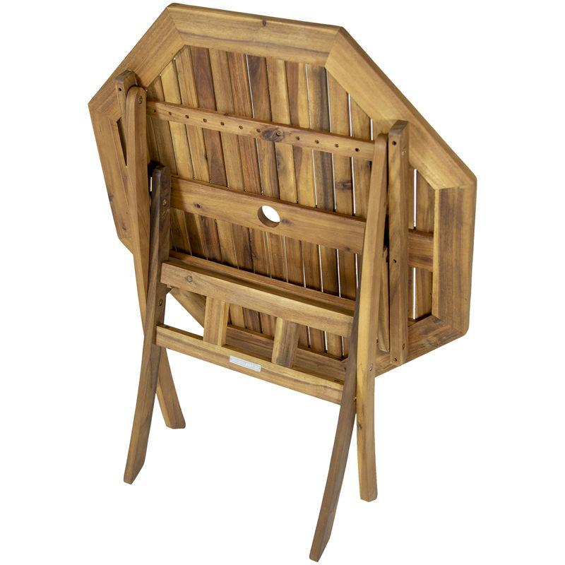 ensemble table octogonale 4 chaises bois dur certifie fsc jardin