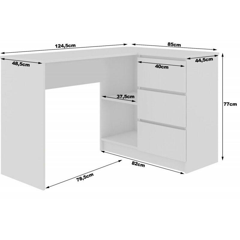 erosa bureau informatique d angle moderne chambre salon bureau 124 5x85x77 cm 3 tiroirs 2 niches table d ordinateur chene chene