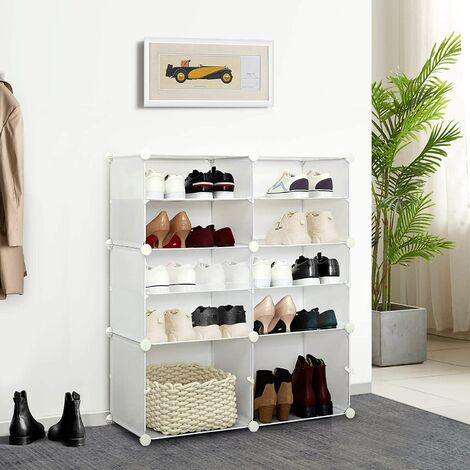 armoire a chaussures etagere a chaussures avec 12 casiers rangement chaussures a emboitement meuble de rangement pour chaussures reglable blanc