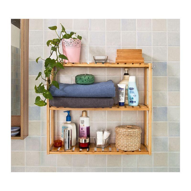 etagere murale salle de bain toilettes en bambou meuble de rangement cuisine 3 niveaux avec 2 crochets frg28 b n sobuy