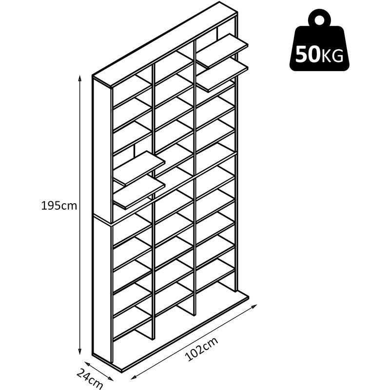 etagere rangement cd dvd meuble de rangement pour 1116 cds 33 compartiments reglables en hauteur 102 x 24 x 195 cm noir