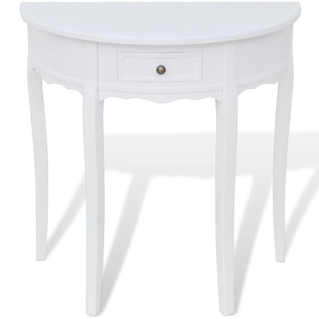 vidaxl table console avec tiroir demi ronde table de couloir table d entree meuble de salon salle de sejour maison interieur blanc marron