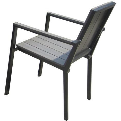fauteuil de jardin bois composite gris anthracite