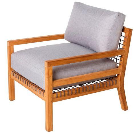 fauteuil de jardin teck et corde maia gris gris et naturel