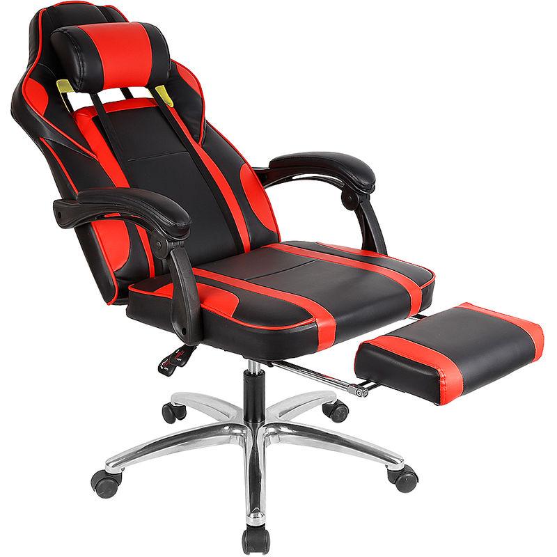 fauteuil gamer chaise gamer coussin lombaire et appui tete hauteur reglable rouge noir racing chaise de bureau en pu fauteuil pivotante