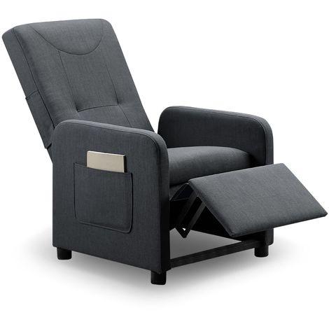 fauteuil relax pliable bristol tissu gris
