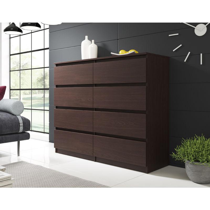 Furnix Commode Salon Meuble De Rangement Woody 140 Cm Wenge 8 Tiroirs Style Moderne Style Classique