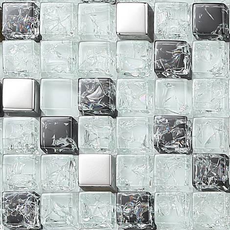 Gebrochener Glas Mosaik Fliesen Weiß Schwarz Silber Mt0078