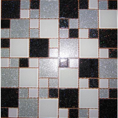 Glas Mosaik Fliesen Matte In Schwarz Weiß Und Silber Mit Glitzer Mt0034