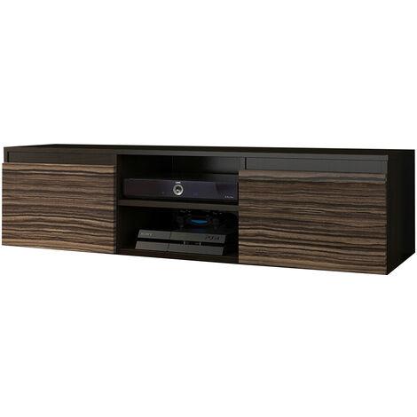 goreme 1w meuble bas tv contemporain salon sejour 120x40x36 2 niches 2 portes rangement moderne materiel audio video gaming wenge zebrano
