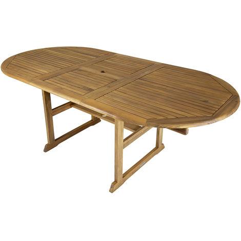 grande table de jardin ovale en bois extensible