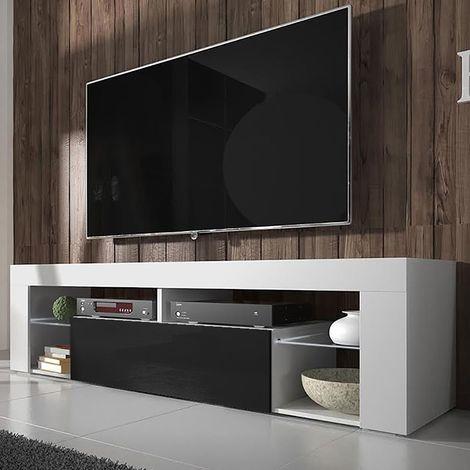 selsey bianko meuble tv banc tv 140 cm blanc mat noir brillant sans led