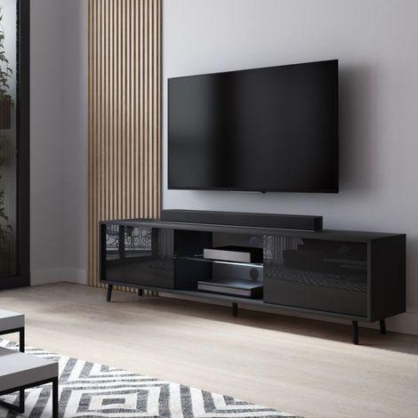 selsey lefyr meuble tv banc tv noir mat noir brillant 140 cm eclairage led