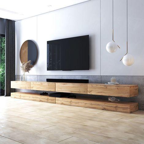 selsey hylia double meuble tv suspendu meuble de salon mural chene wotan 2x140 cm