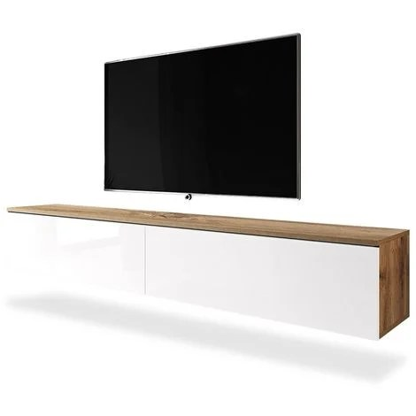 selsey kane meuble tv a suspendre banc tv chene wotan blanc brillant 180 cm sans led