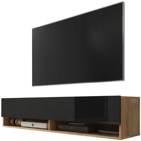 selsey wander meuble tv banc tv chene wotan noir brillant 140 cm sans led