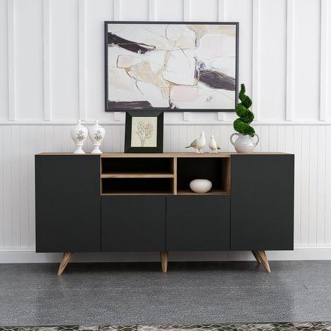 meuble de rangement multi usages sansa avec portes etageres pour salon entree chambre noyer noir en bois 160 x 42 x 75 cm