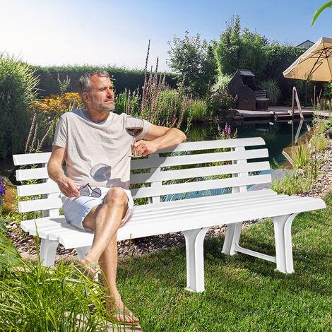 banc de jardin orchidea banc d exterieur en plastique 145x49x74 cm jardin terrasse parc couleur au choix blanc blanco