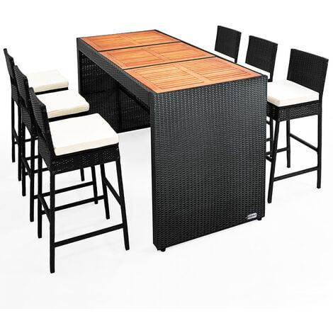 bar de jardin 6 1 en polyrotin noir ensemble table chaises plateau de table en acacia coussins inclus terrasse balcon