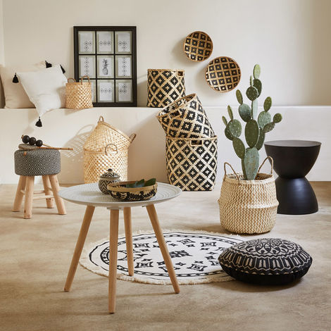 tapis rond motif ethnique en coton et polyester diam 90 cm