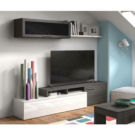 meuble tv mural 200 cm blanc gris