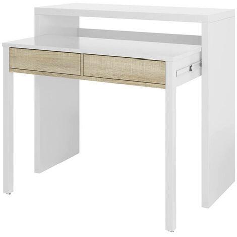 bureau console extensible avec deux tiroirs couleur blanche 87 5 x 98 5 x 36 cm extensible jusqu a 66 cm lorsqu il est ouvert