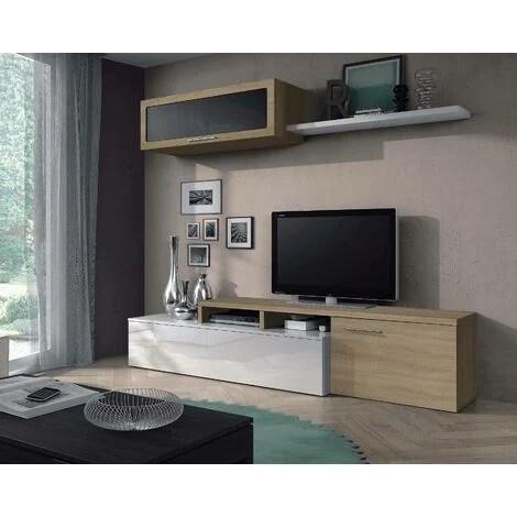 dmora meuble tv pour le salon avec element mural avec porte en verre et etagere couleur chene et blanche brillante 44 x 200 x 41 cm